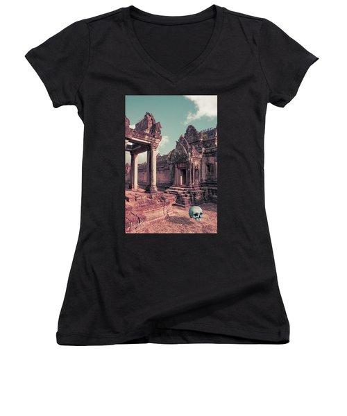 Cambodian Blue Women's V-Neck T-Shirt (Junior Cut) by Joseph Westrupp