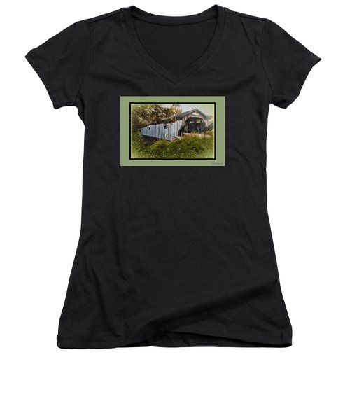 Women's V-Neck T-Shirt (Junior Cut) featuring the digital art Cambridge Jct. Bridge by John Selmer Sr