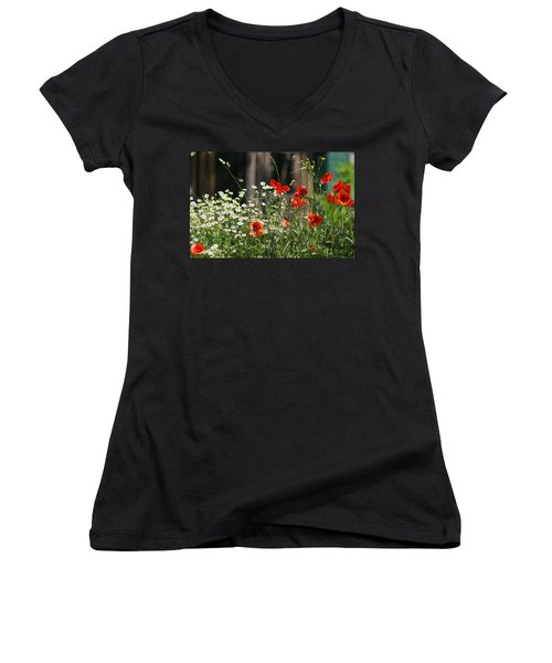 Camille And Poppies Women's V-Neck (Athletic Fit)