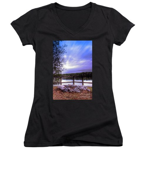 Camp Ground Women's V-Neck T-Shirt (Junior Cut) by Maddalena McDonald