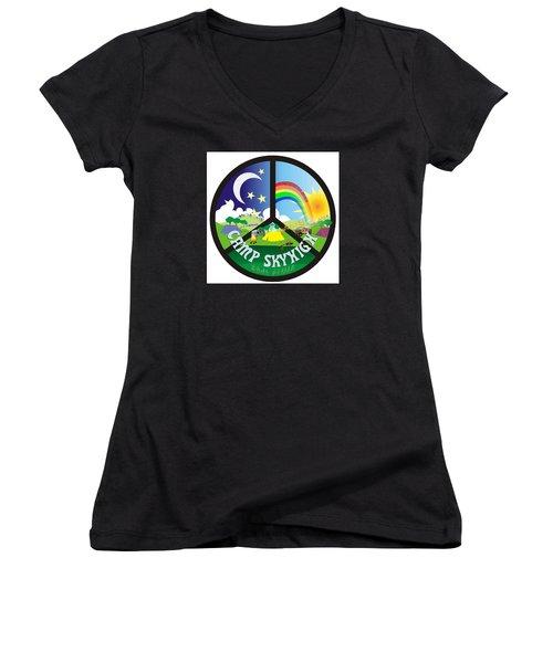 Camp Skyhigh Women's V-Neck T-Shirt (Junior Cut) by Karen Musick