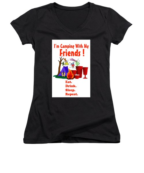 Camping T Shirt Women's V-Neck (Athletic Fit)