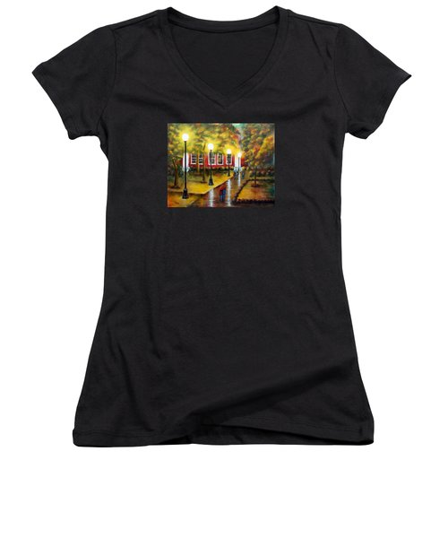 Women's V-Neck T-Shirt (Junior Cut) featuring the painting Campus Rain by Chris Fraser