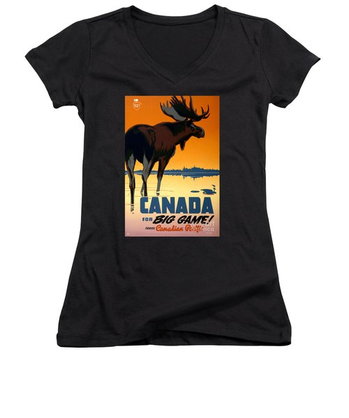 Canada Big Game Vintage Travel Poster Restored Women's V-Neck (Athletic Fit)