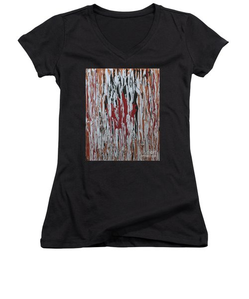 Women's V-Neck T-Shirt (Junior Cut) featuring the painting Canada Cries by Cathy Beharriell