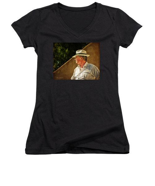 Canadian Artist In Provence Women's V-Neck T-Shirt (Junior Cut) by CR  Courson