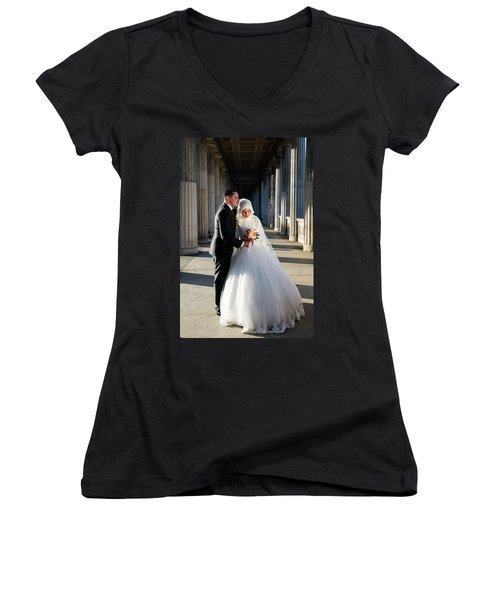 Candid Wedding Shot Women's V-Neck (Athletic Fit)
