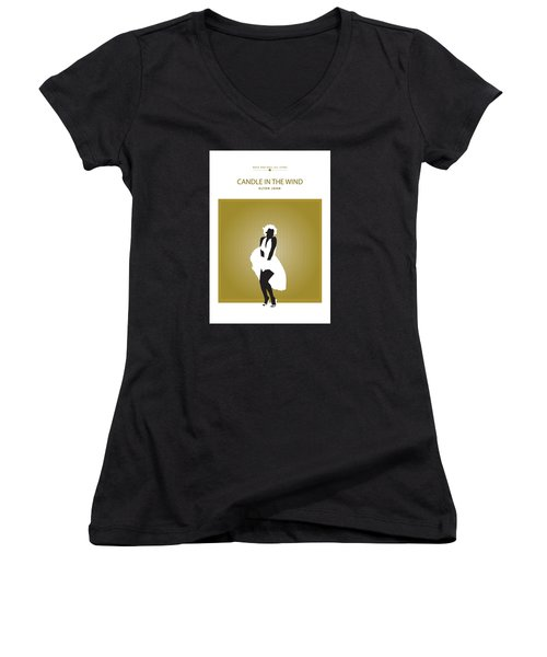 Women's V-Neck T-Shirt (Junior Cut) featuring the drawing Candle In The Wind -- Elton John by David Davies