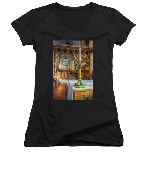 Women's V-Neck T-Shirt (Junior Cut) featuring the photograph Candle Of  Prayer by Ian Mitchell