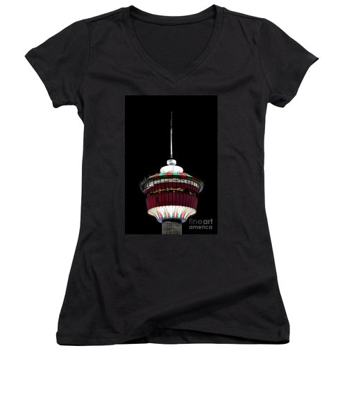 Women's V-Neck T-Shirt (Junior Cut) featuring the photograph Candy Cane Tower by Brad Allen Fine Art
