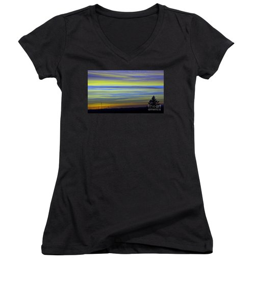 Women's V-Neck T-Shirt (Junior Cut) featuring the photograph Candy Sky 1 by Victor K
