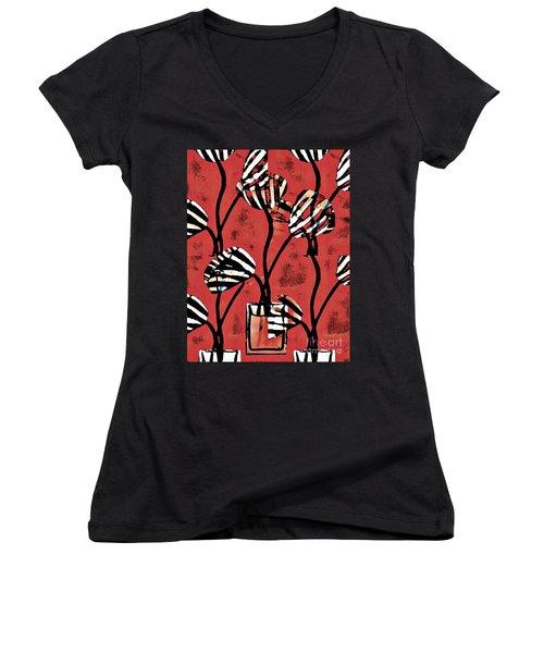 Candy Stripe Tulips 2 Women's V-Neck T-Shirt (Junior Cut) by Sarah Loft