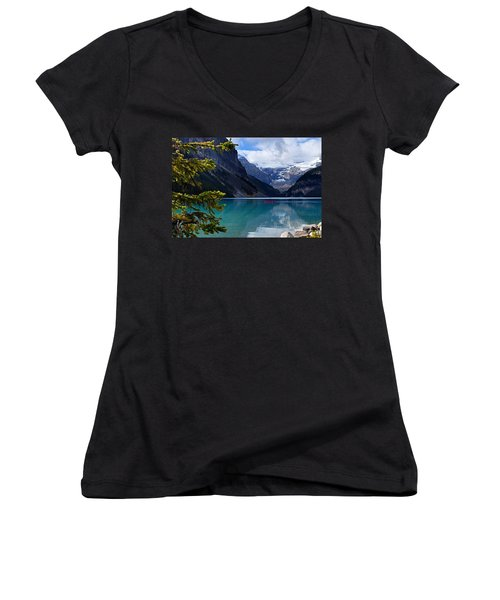 Canoe On Lake Louise Women's V-Neck T-Shirt (Junior Cut) by Larry Ricker
