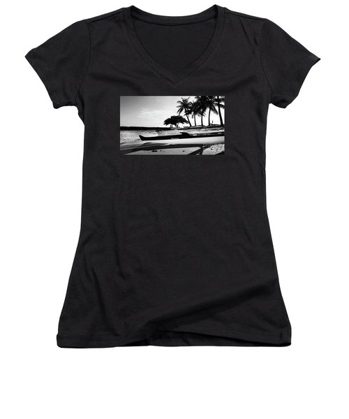 Women's V-Neck T-Shirt (Junior Cut) featuring the photograph Canoes by Kristine Merc