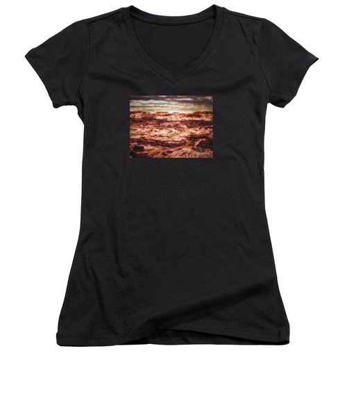 Women's V-Neck T-Shirt (Junior Cut) featuring the photograph Canyon In The Painted Desert  ... by Chuck Caramella