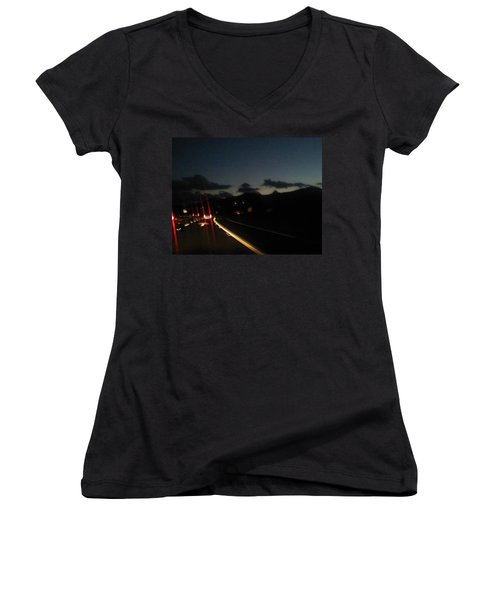 Canyon Road Winter Women's V-Neck T-Shirt (Junior Cut) by Dan Twyman