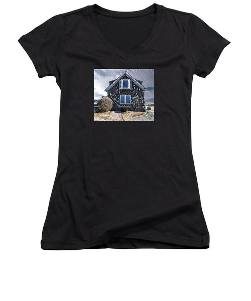 Cape Cod Christmas Bulbs Women's V-Neck T-Shirt (Junior Cut) by Constantine Gregory