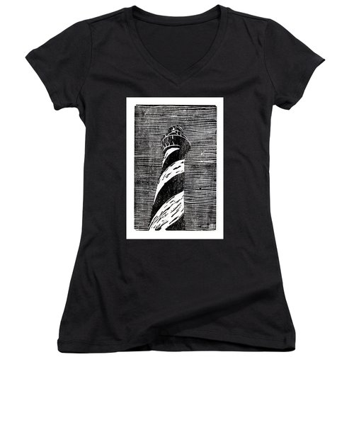 Women's V-Neck T-Shirt (Junior Cut) featuring the painting Cape Hatteras Lighthouse II by Ryan Fox