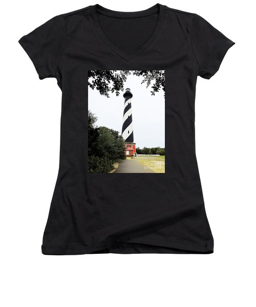 Cape Hatteras Lighthouse Women's V-Neck T-Shirt (Junior Cut) by Shelia Kempf