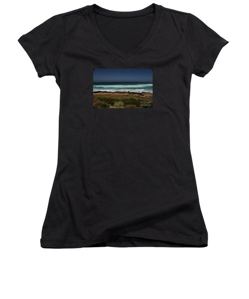 Women's V-Neck T-Shirt (Junior Cut) featuring the photograph Capetown Penisula Beach by Bev Conover