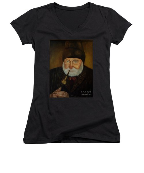Women's V-Neck T-Shirt (Junior Cut) featuring the painting Cap'n Danny by Marlene Book