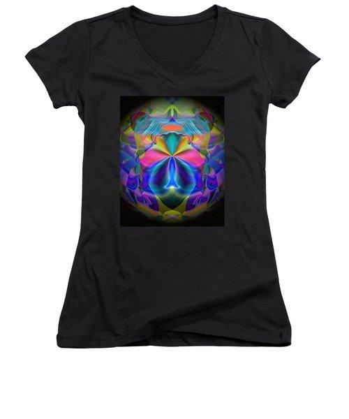 Women's V-Neck T-Shirt (Junior Cut) featuring the digital art Caprice by Lynda Lehmann