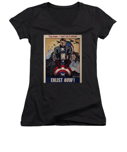 Captain America Recruiting Poster Women's V-Neck