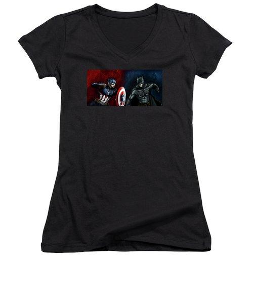 Captain America Vs Batman Women's V-Neck T-Shirt (Junior Cut) by Vinny John Usuriello