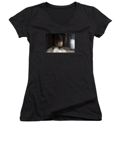 Women's V-Neck T-Shirt (Junior Cut) featuring the photograph Captured Ghost At Colosseum Rome by Richard Ortolano