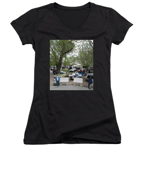Women's V-Neck T-Shirt (Junior Cut) featuring the photograph Car Show In Deming N M by Jack Pumphrey