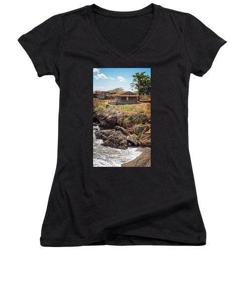 Women's V-Neck T-Shirt (Junior Cut) featuring the photograph Caribbean Coastline Cuba by Joan Carroll