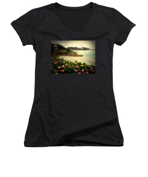 Carmel Beach And Iceplant Women's V-Neck T-Shirt (Junior Cut) by Joyce Dickens