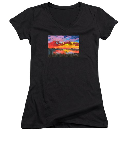 Women's V-Neck T-Shirt (Junior Cut) featuring the painting Carolina Sunset by Patricia Griffin Brett