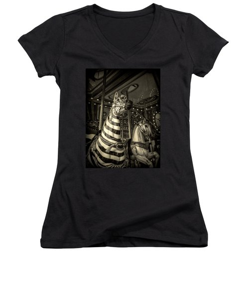 Women's V-Neck T-Shirt (Junior Cut) featuring the photograph Carousel Zebra by Caitlyn Grasso