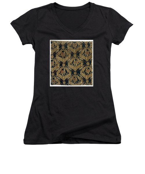 Textile Tapestry Carpet With The Arms Of Rogier De Beaufort Women's V-Neck T-Shirt (Junior Cut) by R Muirhead Art