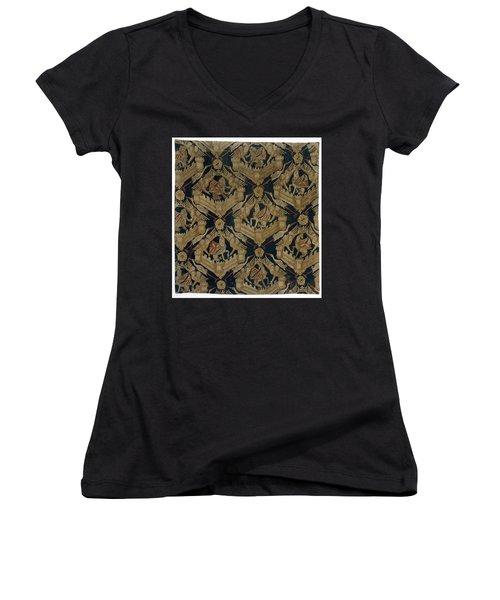 Carpet With The Arms Of Rogier De Beaufort Women's V-Neck T-Shirt (Junior Cut) by R Muirhead Art