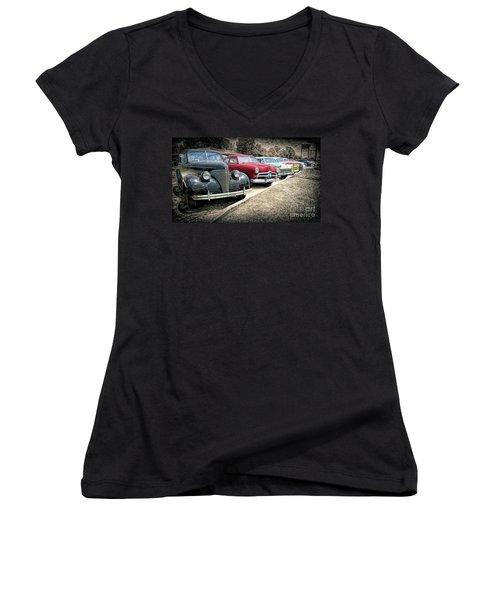 Cars For Sale Women's V-Neck T-Shirt (Junior Cut) by Marion Johnson
