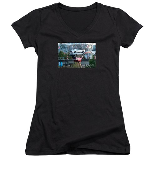 Cars In The Air Women's V-Neck T-Shirt