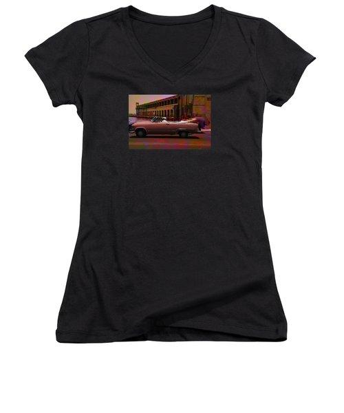 Cars Of Cuba Women's V-Neck T-Shirt (Junior Cut) by Will Burlingham
