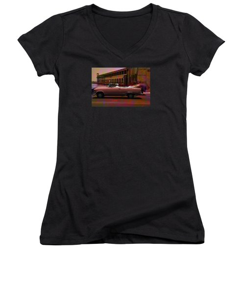 Cars Of Cuba Women's V-Neck (Athletic Fit)