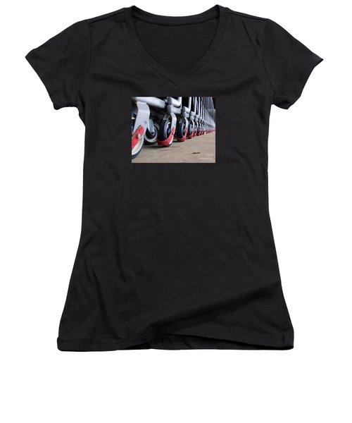 Cart Wheels Women's V-Neck T-Shirt (Junior Cut) by John S
