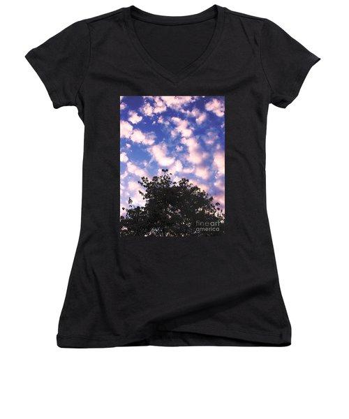 Cartoon Clouds Women's V-Neck T-Shirt (Junior Cut) by Melissa Stoudt