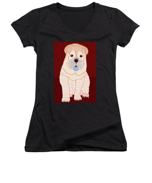 Cartoon Shar Pei Women's V-Neck T-Shirt (Junior Cut)