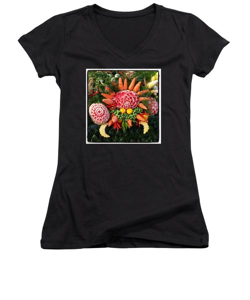 Women's V-Neck featuring the photograph Carved Watermelon, And I Think Those by Mr Photojimsf