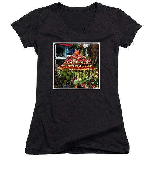 Women's V-Neck featuring the photograph Carved Watermelon, Surin Elephant by Mr Photojimsf