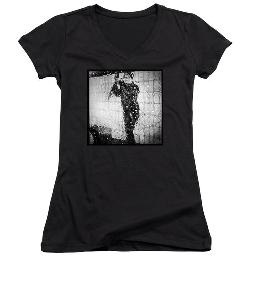 Carwash Cool Black And White Abstract Women's V-Neck T-Shirt (Junior Cut) by Matthias Hauser