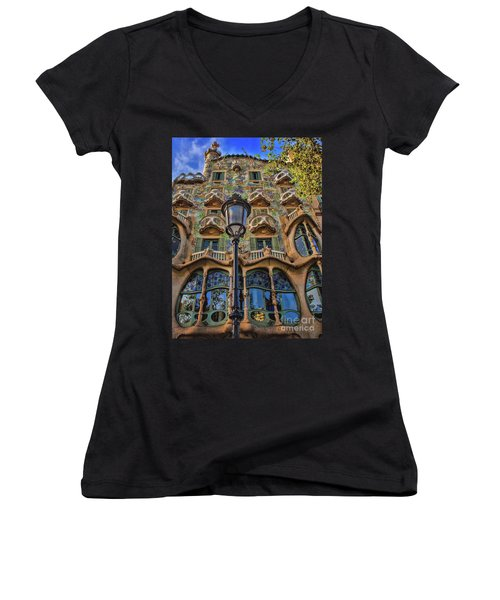 Casa Batllo Gaudi Women's V-Neck T-Shirt (Junior Cut) by Henry Kowalski