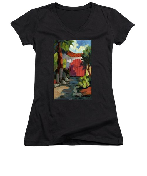Casa Tecate Gate Women's V-Neck T-Shirt (Junior Cut) by Diane McClary