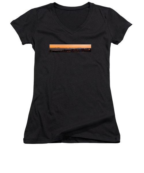 Women's V-Neck T-Shirt (Junior Cut) featuring the photograph Cascade Mountains At Dawn by E Faithe Lester