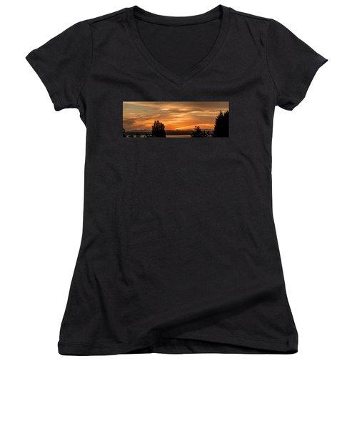 Women's V-Neck T-Shirt (Junior Cut) featuring the photograph Cascade Mountains - Sunrise Panorama by E Faithe Lester